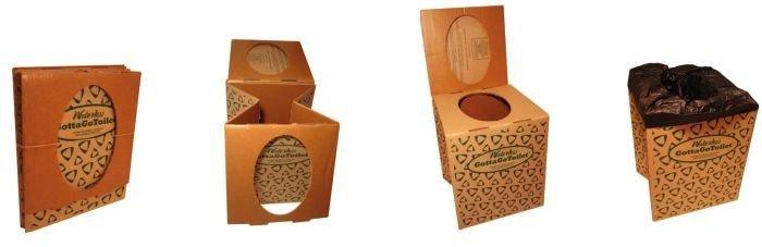 gottago waterless cardboard camping toilet biorelief