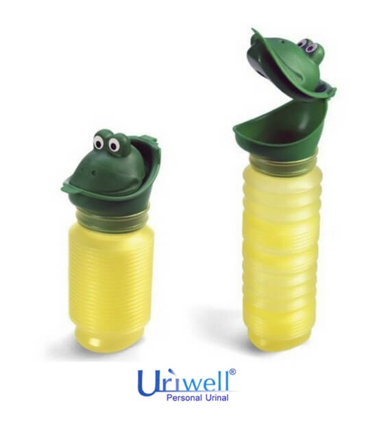 Green and yellow Uriwell unisex personal toilet portable urinal available at BioRelief - special with frog head top