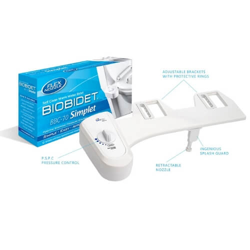 BB-70 Bidet Attachment by BioBidet - Toilet Seat Bidet system - Easy to Install