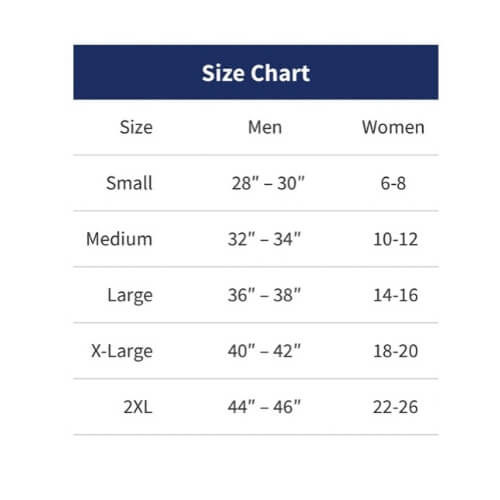 Underwear to Manage Leg Bags and Tubing by CathWear - Size Chart
