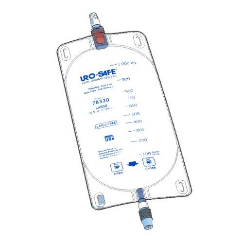 uro-safe disposable vinyl urinary leg bag - urocare - 1000ml
